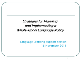 Whole-school Language Policy – planning & implementation