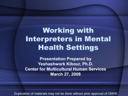 Working with Interpreters in Mental Health Settings