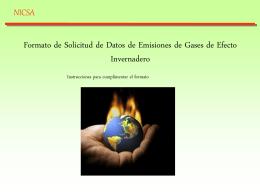 Formato de solicitud de datos de Emisiones de Gases de