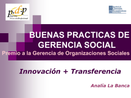 Premio a la Gerencia de Organizaciones Sociales 2da
