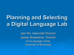 The Planning of a Digital Language Lab