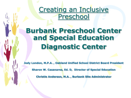 Burbank Preschool Center and Special Education …