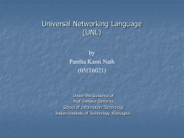 An Introduction to Universal Networking Language (UNL)