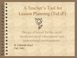 Tulip a Teacher's Lesson Planning Tool