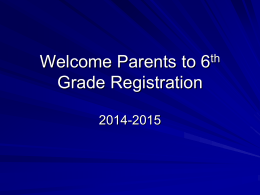 6th Grade Registration