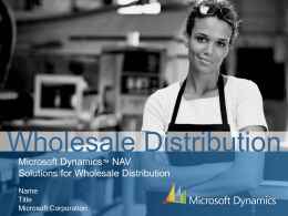 MS Dynamics NAV Wholesale Distribution