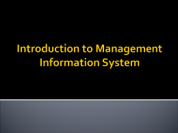 Introduction to Information System - Zaipul Anwar