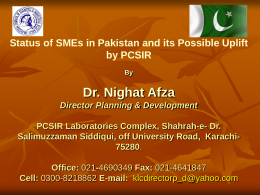 Status of SMEs in Pakistan and its Possible Uplift by PCSIR