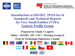 Introduction to ISO/IEC 29110 Standards for Very Small