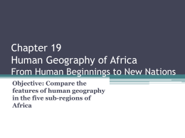 Chapter 19 Human Geography of Africa From Human …