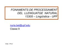 FONAMENTS DE PROCESSAMENT DEL LLENGUATGE …