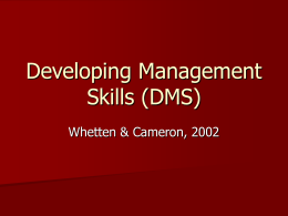 Developing Management Skill
