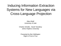 Inducing Information Extraction Systems for New …