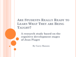 Are Students Really Ready to Learn What They are Being …