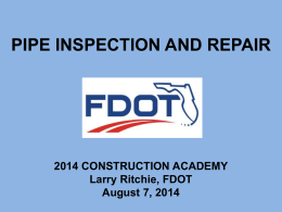 PIPE INSPECTION AND REPAIR - Florida Department of