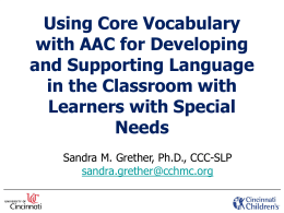 AAC in the Educational Setting - Ohio Speech