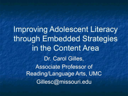 Improving Adolescent Literacy through Embedded …