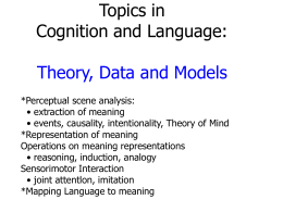 Topics in Cognition and Language: Theory, Data and Models