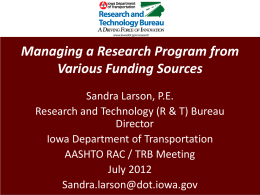 Sandra Larson: Managing a Research Program from …