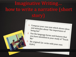 Area of Study Paper 1 – Section II: Imaginative Writing