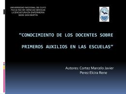 CONOCIMIENTO DE LOS DOCENTES SOBRE PRIMEROS …