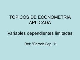 TOPICOS DE ECONOMETRIA APLICADA Estimaciones de …