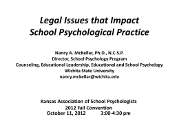 Legal Issues that Impact School Psychological Practice