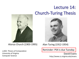 Church-Turing Thesis - University of Virginia
