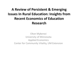 A Review of Persistent & Emerging Issues In Rural