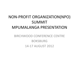 NON-PROFIT ORGANIZATION(NPO) SUMMIT