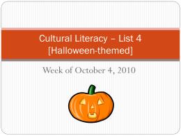 Cultural Literacy – Week 4 [Halloween