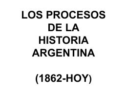 LOS PROCESOS DE LA HISTORIA ARGENTINA (1862-HOY)