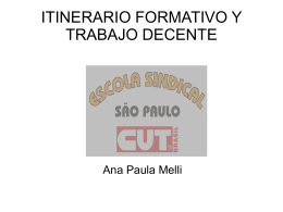ITINERARIO FORMATIVO Y TRABAJO DECENTE