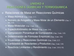 UNIDAD 4REACCIONES QUIMICAS Y TERMOQUIMICA