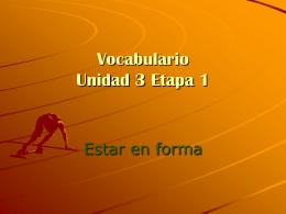 Vocabulario Unidad 3 Etapa 1