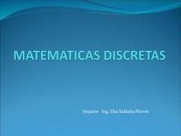 MATEMATICAS DISCRETAS - Ing. Sistemas Computacionales