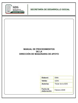 MAQUINARIA DE APOYO PROCEDIMIENTO INICIO