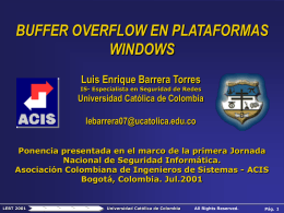 BUFFER OVERFLOW EN PLATAFORMAS WINDOWS