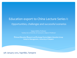 Education export to China: opportunities, challenges …