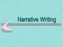Narrative Writing - Allison Bolin's Home Page