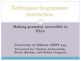 Grammar teaching in the ESL Classroom