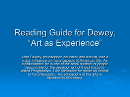 "Reading Guide for Dewey, ""Art as Experience"""