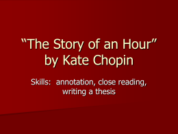 "The Story of an Hour"" by Kate Chopin - Wiki-cik"