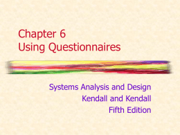 Chapter 6 Using Questionnaires