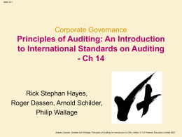 Corporate Governance Principles of Auditing: An