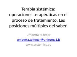 Terapia sistemica: operazioni terapeutiche nel processo di