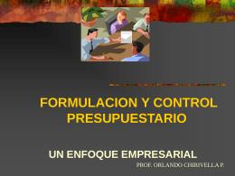 FORMULACION Y CONTROL PRESUPUESTARIO