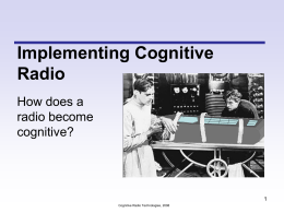 Cognitive Radio Technologies and WANN