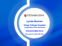 Welcome 18th March 2009 - Kings Thrombosis Centre
