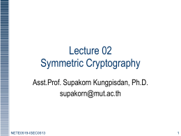 Lecture02: Symmetric Cryptography 1